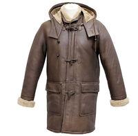 Men's Rufus Brown New Winter Real Shearling Sheepskin Leather Duffle Coat