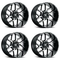 Set 4 24x12  Vision Off Road Sliver Black Machined Face 5x5.5 Rims -51mm w/ Lugs