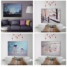 LED Light Up Hanging Canvas Picture Xmas Christmas Scene Home Wall Decoration