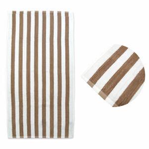 Coffee Stripes Cotton Terry Beach Towel 75 x 150 cm