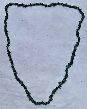 """Malachite Natural Chip Gemstone Beads Strand Necklace. 33"""" Long. New Old Stock"""