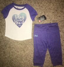 NWT UNDER ARMOUR Set 24 Months Purple White Pants Short Sleeve Shirt