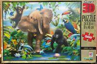 Jigsaw Puzzles-MB-500 Pieces-Super 3D-Junior Jungle-Howard Robinson-Wildlife