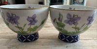 Vintage Saki Or Tea Cups - Large - Set Of Two Blue Violet Dated 1983