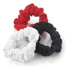 GIRLS 3pc SET OF SMALL PLAIN COLOUR SCRUNCHIE HAIR ELASTICS BAND RED WHITE BLACK
