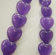 "10x10mm AAA Amethyst Flat Heart-shaped Gem Beads 15"""