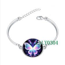 Cute Butterfly glass cabochon Tibet silver bangle bracelets wholesale