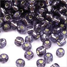 Perles de Rocailles en verre Trou Argenté 4mm Lilas Foncé 20g (6/0)
