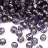 rocaille glass seed beads Hole Silver 4mm Lilac Dark 20g (6/0)