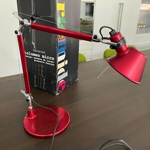 ARTEMIDE Tolomeo Micro Table Lamp Metal Red by De Lucchi, Fassina