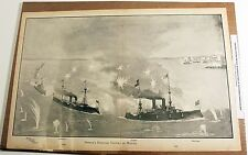 Dewey's Famous Victory at Manila Large Antique 1899 Engraving Spanish/Am War