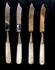 "4, 19thC MOTHER OF PEARL Handled Fruit Knives STERLING BOLSTERS, 6.75"" SALE‼️"