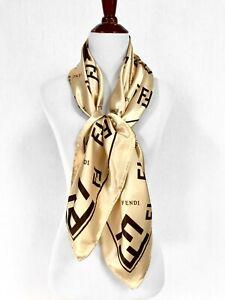 "FENDI Silk Scarf Classic F Logo Gold Brown 35"" Square Rolled Edge Designer New"