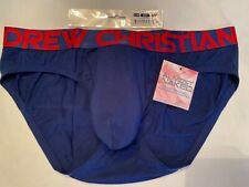 """""""Andrew Christian"""" Size """"L"""" Almost Naked Premium Brief - Navy/Red Lettering"""