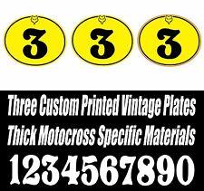 SET OF 3 BRIGHT YELLOW VINTAGE MOTOCROSS CUSTOM PRINTED VINYL OVAL NUMBER PLATE