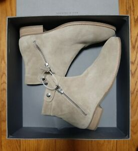 NIB Aquatalia WEATHERPROOF Ankle Booties ROSE SUEDE in Ecru (Beige) 9.5