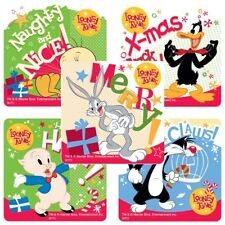 "25 Looney Tunes Christmas Stickers, 2.5"" x 2.5"" each, Party Favors"