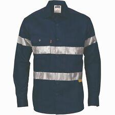 Work Shirt NAVY Cotton Hi-vis 3M Tape Safety Flouro-High Visibility PopularSTYLE