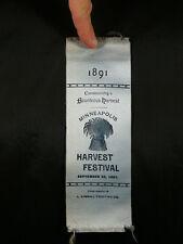 1891 MINNEAPOLIS HARVEST FESTIVAL BLUE RIBBON Minnesota History Memoribilia