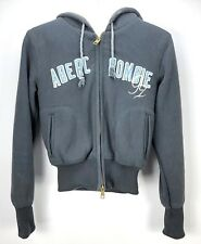 Abercrombie & Fitch Womens Size Medium Fleece Faux Fur Hoodie Navy Knit HEAVY