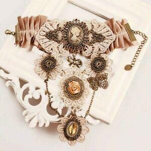 Women Steampunk Bracelet Gothic Gear Lace Wrist Victorian Vintage Costume