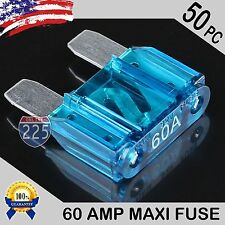 50 Pack 60A AMP Platinum Plated Large Audio Blade MAXI Fuse 12V 24V 32V Auto US
