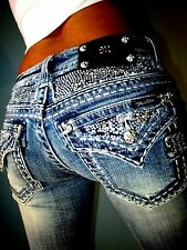 Buckle MISS ME by MEK Crystal Studded Low Rise Boot Cut Stretch Jeans 26 x 31