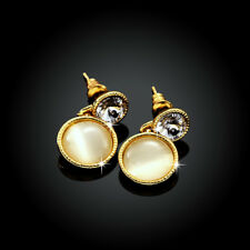 Classic 18K Yellow Gold Filled Round Cat's Eye Opal Dangly Earrings
