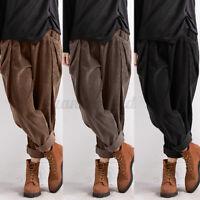 ZANZEA UK Women Vintage Elastic Waist Corduroy Pants Casual Loose Harem Trousers