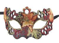 Máscara De Venecia Columbine Tutti Fruiti Rojo Negro Floral De Papel Mache 2388