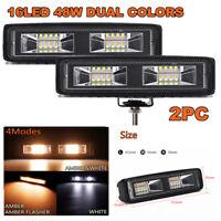 "2PCS 6"" 48W 16 LED Car Work Light Flood Beam Bar Driving Fog Lamps Amber & White"