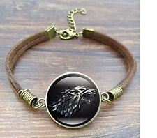 Game of Thrones House of Stark Black Wolf Leather Bracelet Glass Cabochon Gift