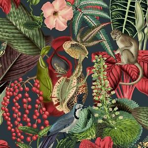 Amazon Exotic Wildlife Birds Monkeys Flowers GranDeco Wallpaper Black/Red JF2201