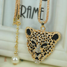 Leopard Head Sweater Bead Necklace Rhinestone Crystal Pendant Chain Lover Gift