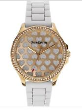 Juicy Couture Ladies Watch Gwen Gold Crystal Hearts White Silicone Band $195