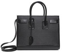 New Saint Laurent YSL Black Sac De Jour Small Vintage Opium Noir Leather Bag