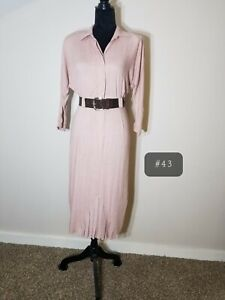 Vtg 80's Mauve Shirt dress W/belt. Secretary/geek cottagecore business church