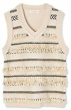 NWT Tory Burch Cream Striped Jacquard V-Neck Sweater Vest With Fringe XL NEW