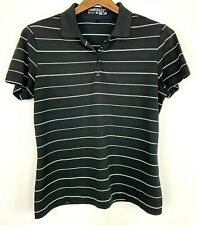 Nike Womens Golf Shirt Black Stripe Dri Fit Size Large
