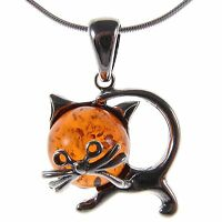 BALTIC AMBER STERLING SILVER 925 CAT KITTEN ANIMAL PENDANT NECKLACE JEWELLERY