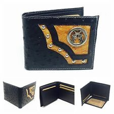 Western Black color Pistol Gun Ostrich Bi-Fold Men's Leather Wallet