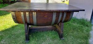 Wine barrel coffee table, handmade.