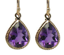 E120 Genuine 9K Yellow Gold NATURAL Large Amethyst Tear Drop Earrings 7.00ct