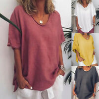 Plus Size Womens Summer Baggy Tops Short Sleeve Casual Loose T-Shirt Blouse 6-24