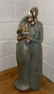 Beautiful Mother Father Child Abstract Statue Copper Tone & Teal Accents Family