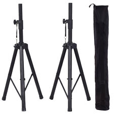 "Pair 40""-79"" Height Adjustable Tripod DJ PA Speaker Stands Black w/Carry Bag New"
