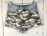 Womens BDG Cut Off Denim Shorts 25 High Rise Dree Cheeky Light Wash Camo Jeans