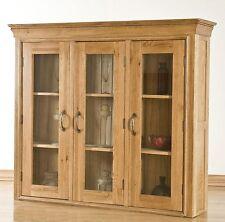Lourdes solid oak furniture large dining room china display cabinet dresser