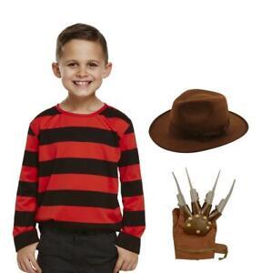 Freddy Kids Jumper Hat Glove Halloween Scary Elm St Fancy Dress Costume