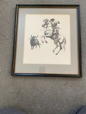 John Fulton pencil signed Bull fighter print Carlos Arruza matted/framed
